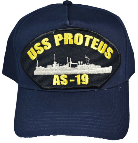 USS PROTEUS AS-19 Hat Veteran Owned Business NAVY BLUE