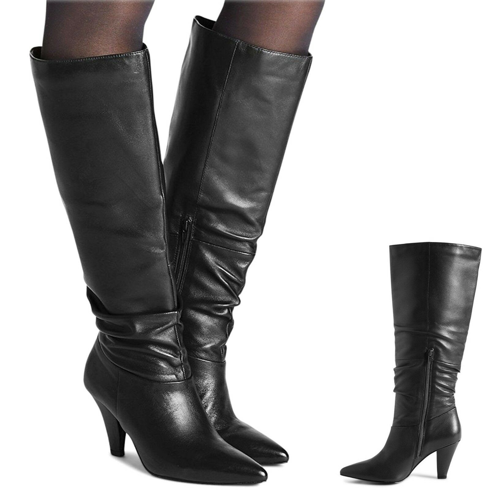 M&S Real LEATHER LEATHER Real High Heel KNEE High Stiefel  Größe 7  BLACK (rrp ) 7196d3