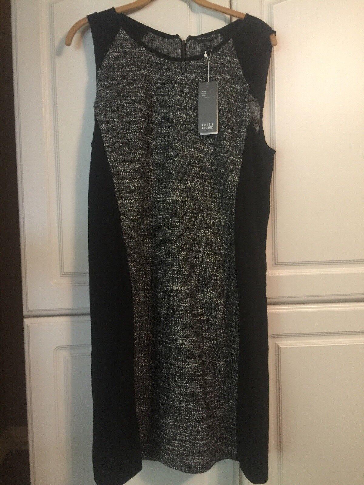 Eileen Fisher Round Neck K/l Tweedy Knitted Cotton Dress NWT (298.00 MSP) Large