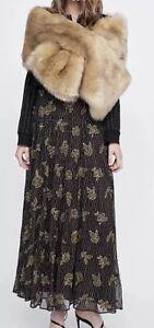 nuevo estilo fd51c 1ed51 Detalles de Zara Bufanda Largo Maxi estola de piel sintética marrón  camellos 160x32cm- ver título original