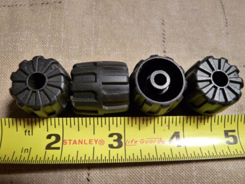 LEGO Black Wheel Hard Plastic Small Lot 22x24mm Space Parts 6118 Set of 4