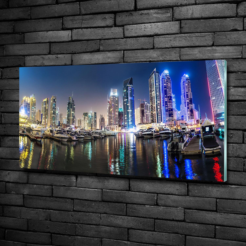 Wandbild aus Plexiglas® Druck auf Acryl 100x50 Dubai bei Nacht