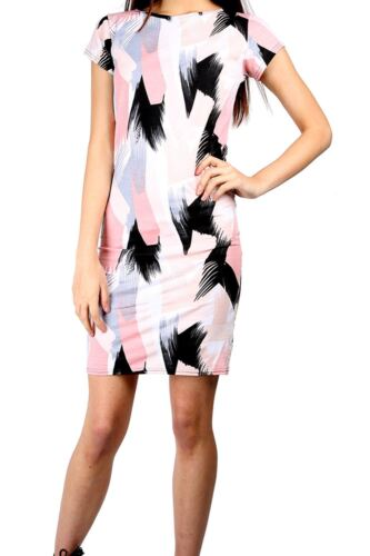 Women/'s Ladies Floral Round Neck Cap Sleeve Stretchy Fitted Bodycon Midi Dress