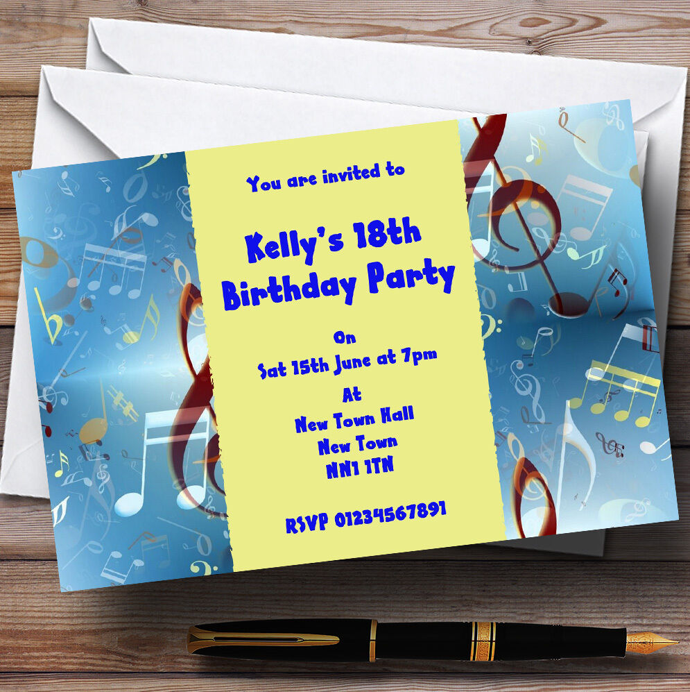 Blau Music Clef Personalised Party Invitations