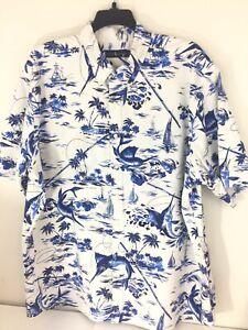 Polo-Ralph-Lauren-Men-039-s-Size-3XLT-Blue-White-Marlin-Fishing-Boat-Shirt-Big-amp-Tall