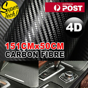 50cm X1.51m 4d Gloss Black Carbon Fibre Fiber Vinyl Car Wrap Air Release Film Oz