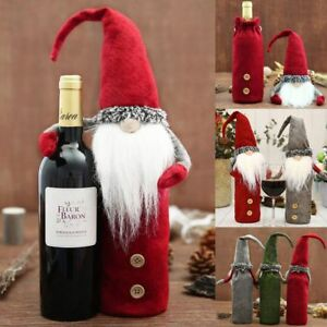 Natale-Babbo-Natale-Bambola-Bottiglia-Di-Vino-Copertina-Tavola-Addobbo-Decorazione-per-Natale