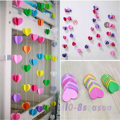 3M Hanging Paper 3D Heart Garland Birthday Party Wedding Ceiling Banner Decor