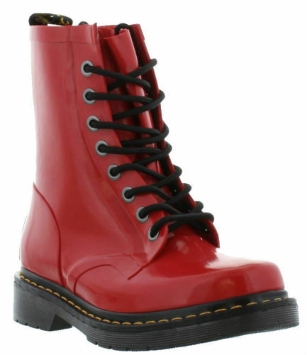 NIB Dr. Martens Womens Drench Wellington Rubber Boots Red Patent