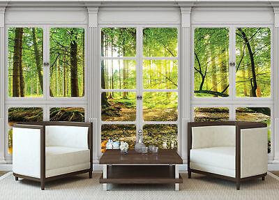 VLIES Fototapeten Tapete  Fenster Ausblick Natur Wald Baum Blatt  3FX10663VE
