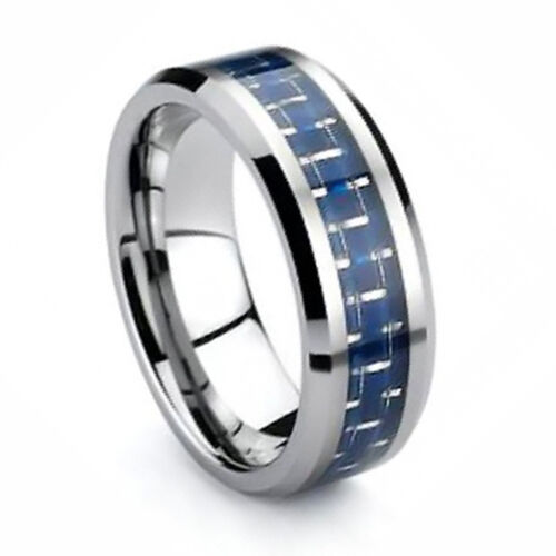 Blue Carbon Fiber Tungsten Ring 8mm Mens Wedding Ring Size 6 - 13