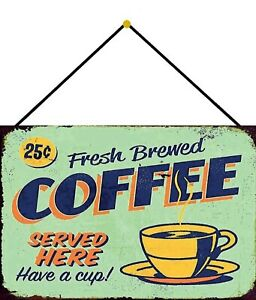 Fresh-Brewed-Coffee-Tin-Sign-Shield-with-Cord-7-7-8x11-13-16in-FA1030-K