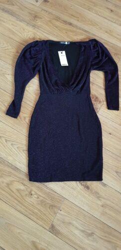 womens boohoo glittery plung fit dress size 8,14 bnwt