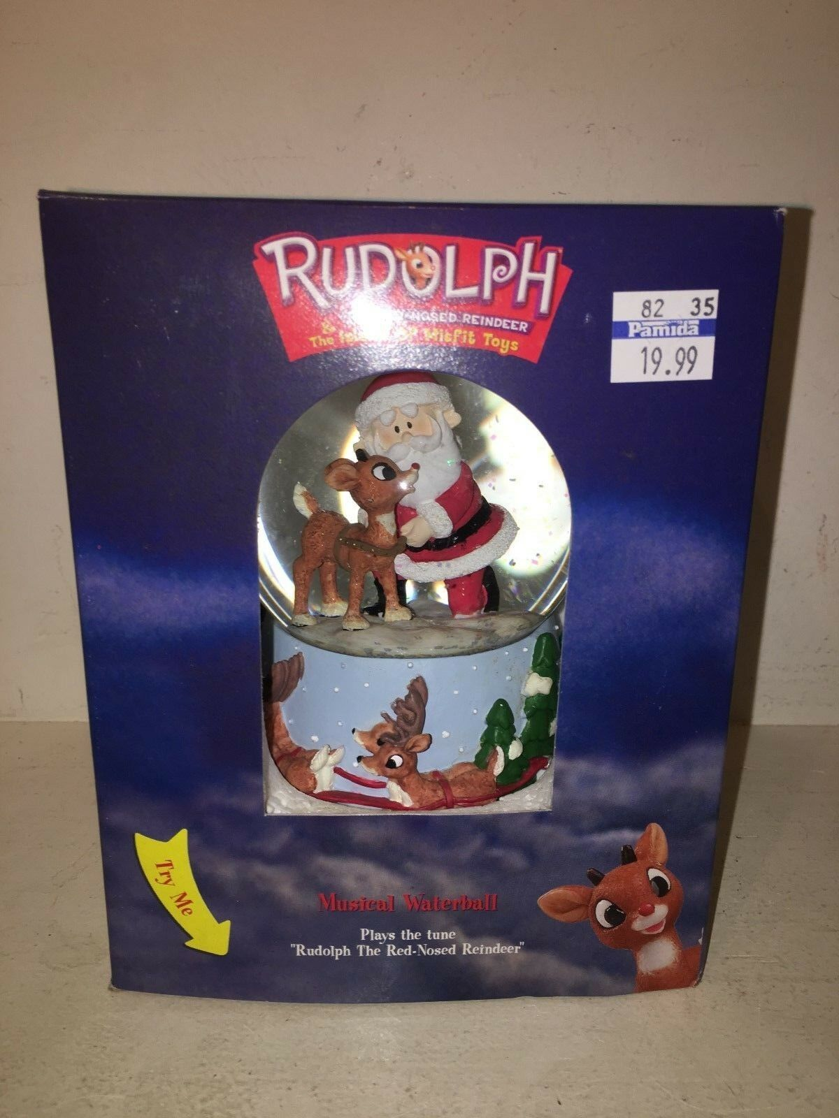 NEW RARE 2000 RUDOLPH & SANTA THE ISLAND OF MISFIT TOYS MUSICAL WATERBALL 100829