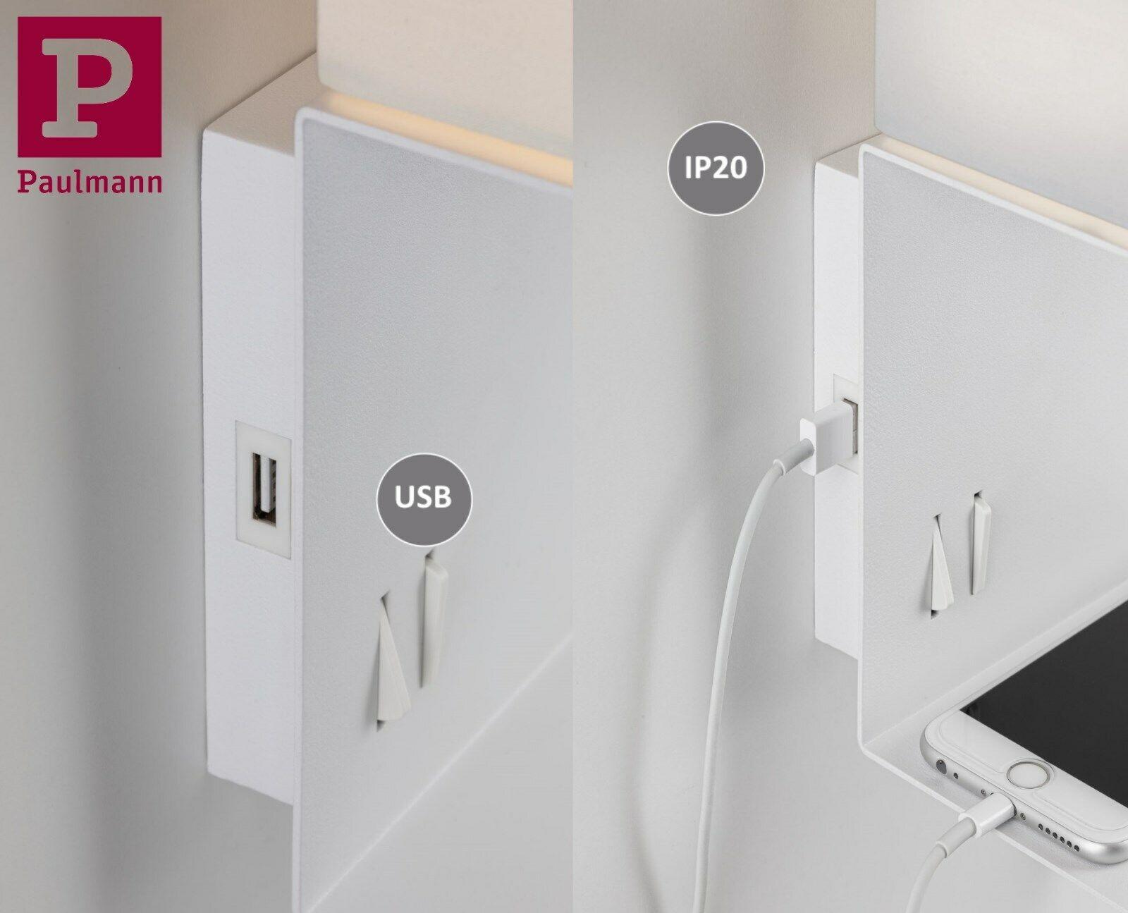 Paulmann 78913 Wandleuchte mit Ablage Merani E27 max 40W// 3W Beige//Wei/ß Stoff//Metall