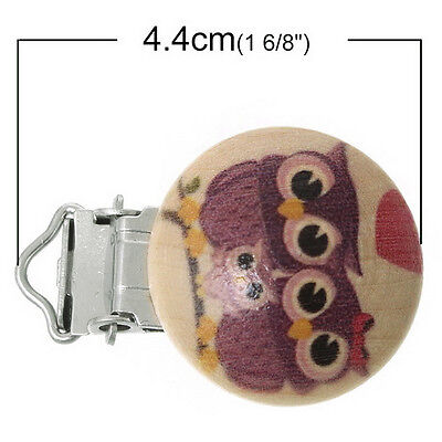 5pcs Baby Kids Toddler Wooden Metal Pacifier Holder Clip Soother Dummy Nipple