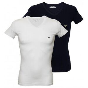 Emporio-Armani-2-Pack-Stretch-Cotton-V-Neck-Men-039-s-T-Shirts-White-Navy
