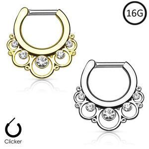 316L Surgical Steel Brass Hinged Septum Clicker Nose Ring Hoop Tribal Swirls 14G