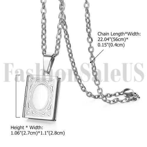 Mens Womens Retro Stainless Steel Book Locket Photo Pendant Lovers Necklace Gift