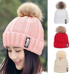 82c35da30 Details about Women Knitted Warm Hat Fashion Girl Hats Beanie Winter Cotton  Faux Fur Ball Cap