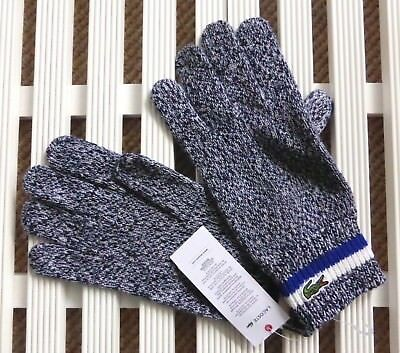 M/l Or L/xl Lacoste Navy Marine Melange 100% Wool Gloves Mens New Tags