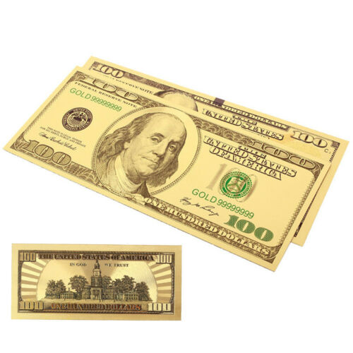 2x Gold Foil USA Banknote 100 Dollar Fake Currency Bills Paper Money Gift