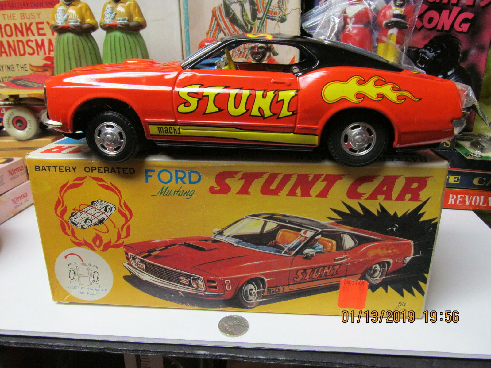 MUSTANG FORD MACH 1 BATTERY OPERATED STUNT CAR N MINT IN BOX WORKS TPS JAPAN
