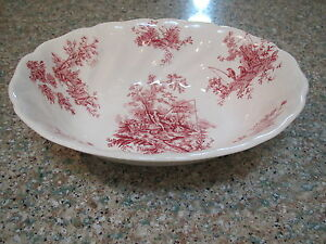 Johnson-Bros-red-tsfrware-Pastorale-Toile-De-Jouy-8-7-8-034-oval-Veg-bowl-England