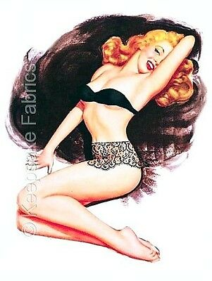 Pin Up Blonde In Black Lace Quilt Block Top Multi Sizes