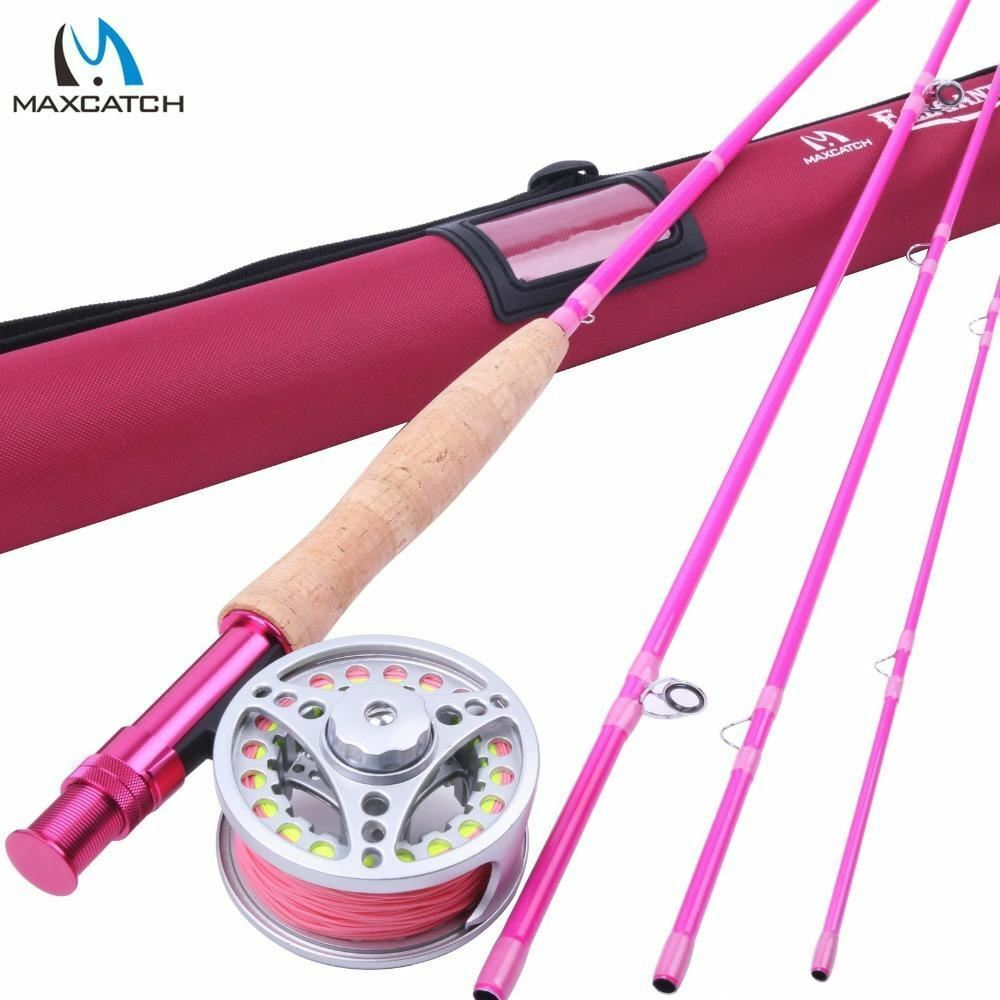 5WT Fly Fishing Combo 9FT Medium-fast Pink Fly Fishing Rod with Reel and Line