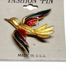 Vintage-Gold-Tone-Bird-with-Red-Purple-Turquoise-Enamel-Wings-Pin