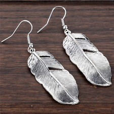 Cute New Tibetan Silver Fashion Jewelry Large Feather Leaf Dangle Drop Earrings