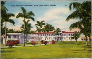 GOOD-SAMARITAN-HOSPITAL-WEST-PALM-BEACH-FLORIDA-SOUVENIR-POSTCARD-1940s-VINTAGE