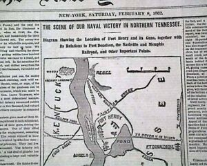 BATTLE-OF-FORT-HENRY-Tennessee-River-Civil-War-MAP-Grant-Victory-1862-Newspaper