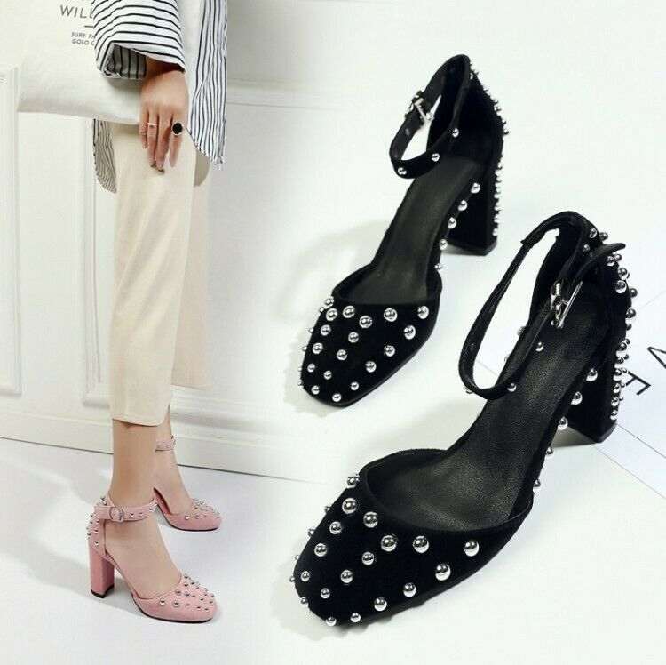 Womens Fashion Suede Leather Punk Studs Ankle Strap Block Heel Court shoes SKGB