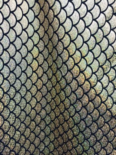 "Silver Mermaid Scale 4 Way Stretch Hologram Spandex Fabric 60/"" BTY"