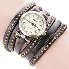 Vintage Women Stainless Steel Leather Bracelet Quartz Analog Girl Wrist Watch UK