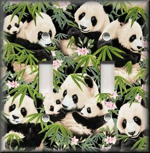 Light switch plate cover panda bears animal home decor for Panda bear decor