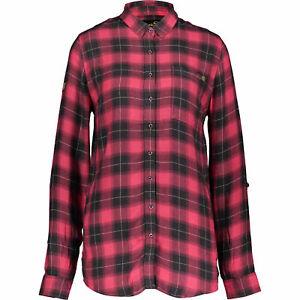 Femme-Superdry-Maya-Oversize-Chemise-Rouge-carreaux-gris-taille-S-UK-10