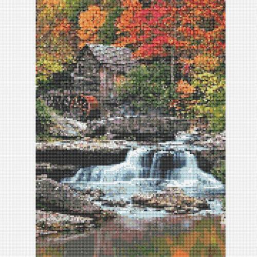 Round 5D DIY Diamond Painting Rhinestone Waterfall Cross-Stitch Kit Home Decor
