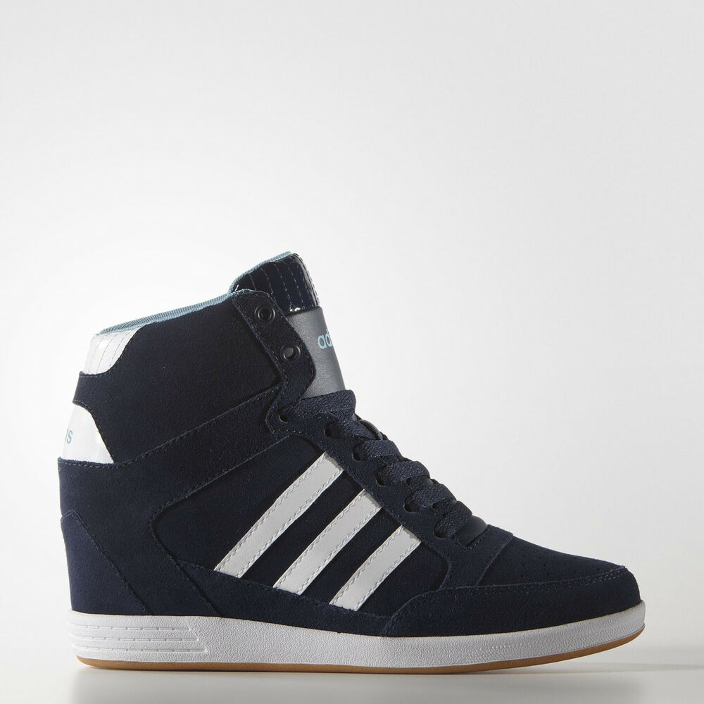 ADIDAS HIGH TOP Bleu COMFORT SUEDE WEDGE chaussures Bottes WALKING AW4847 NIB PRM