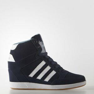 ADIDAS HIGH TOP BLUE COMFORT SUEDE WEDGE SHOES BOOTS WALKING AW4847 ... a0e6f3459