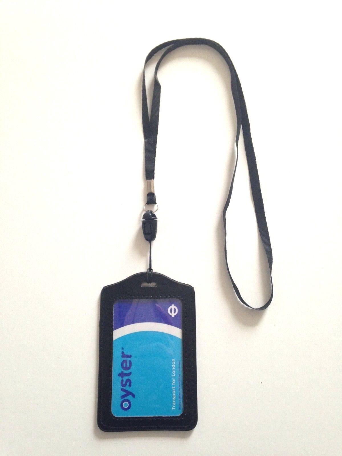 1 XBlack Cuero Tarjeta de ostra, paso de bus, tarjeta de identificación de estudiante, cordón para titular de la tarjeta de acceso.