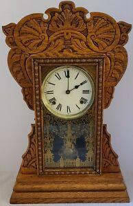 Antique Working NEW HAVEN 'Cunard' Oak Gingerbread Parlor Mantel Shelf Clock
