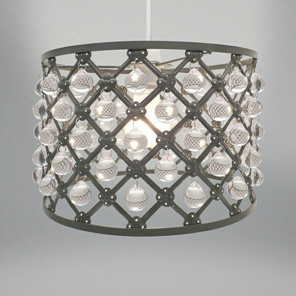 Country Club Bijou Light Ing Grey 26cm Modern Home Lighting Shade Decor