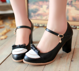 Women-Bowknot-Ankle-Strap-Heels-Retro-Mid-Chunky-Round-Toe-Mary-Jane-Shoe-Lolita