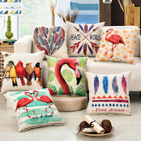 """FLAMINGO ARROW  FEATHER PATTERN TAPESTRY THROW PILLOW CASE CUSHION COVER 17"""""""
