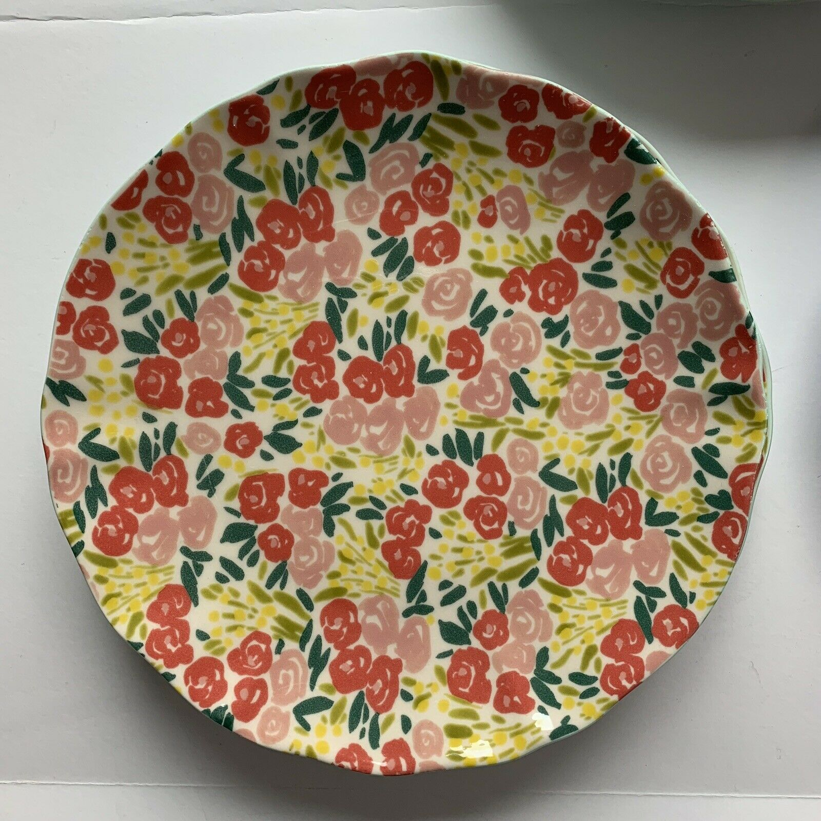 Anthropologie Melamine Set Of 3 Dinner Plates Floral Flowers