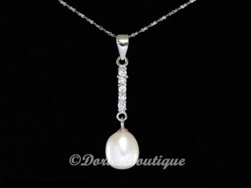 Flawless 6 mm blanc poire Tear drop pearl 925 .925 Pendentif en argent sterling