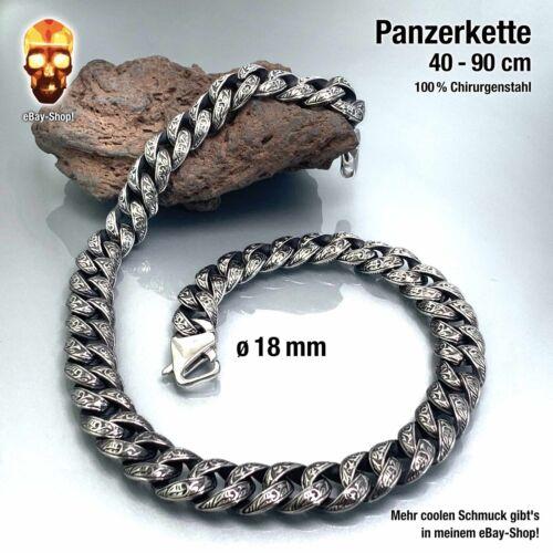 18 mm Panzerkette Edelstahl Herren Biker Halskette Königskette breite 16 20 22